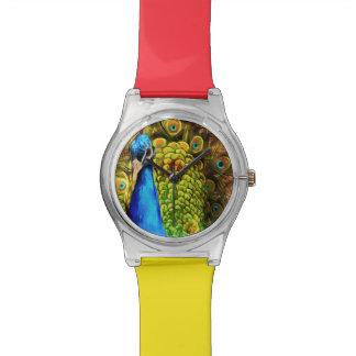 Pavo real colorido reloj de pulsera