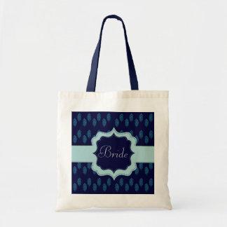 Pavo real de la alheña (azul) (boda) bolsa tela barata