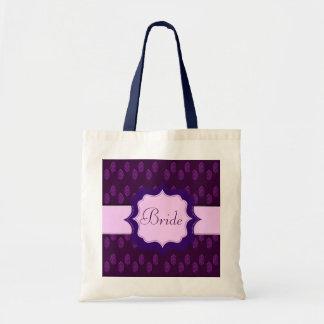 Pavo real de la alheña (boda) (violeta) bolsa tela barata