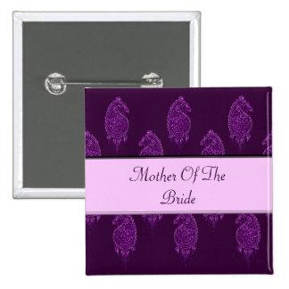 Pavo real de la alheña (boda) (violeta) chapa cuadrada 5 cm
