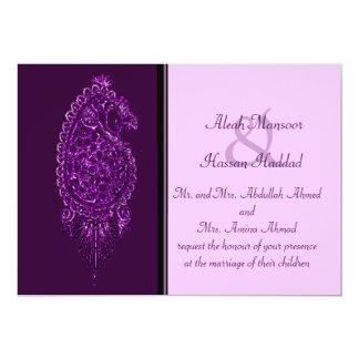 Pavo real de la alheña (boda) (violeta) invitación 12,7 x 17,8 cm