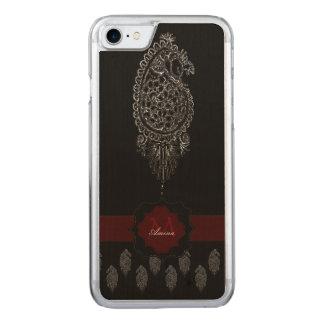 Pavo real de la alheña (plata) funda para iPhone 7 de carved
