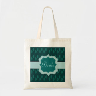 Pavo real de la alheña (turquesa) (boda) bolsa tela barata