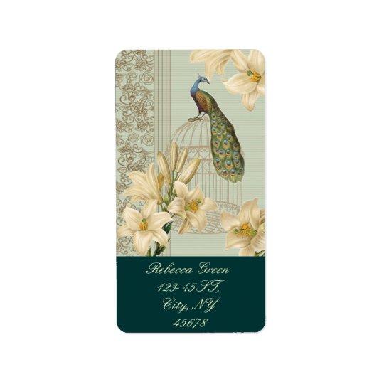 pavo real francés del birdcage del vintage del etiqueta de dirección