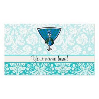 Pavo real lindo del dibujo animado tarjetas de visita
