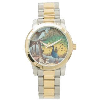 Pavos reales del vintage y un gato reloj de pulsera