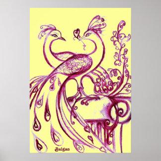 PAVOS REALES EN AMOR, púrpura y amarillo rojos Posters