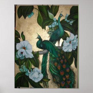 Pavos reales en árbol de la magnolia póster