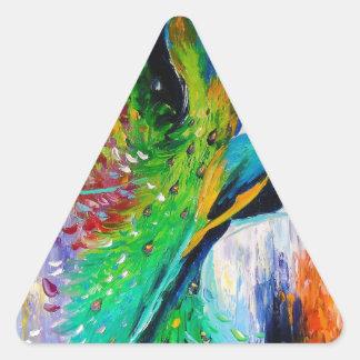 Pavos reales pegatina triangular