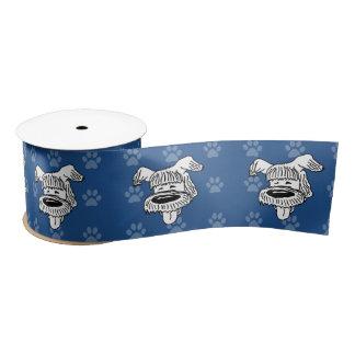 Pawprints azules del perro pastor del dibujo lazo de raso