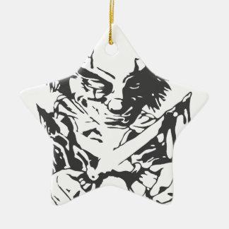 Payaso asustadizo loco adorno navideño de cerámica en forma de estrella