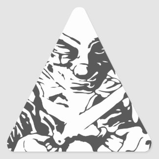 Payaso asustadizo loco pegatina triangular