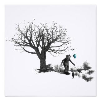 Payaso de B&W - globo de la turquesa - árbol viejo Invitación Personalizada
