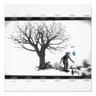 Payaso de B&W - globo de la turquesa - árbol viejo Invitación 13,3 Cm X 13,3cm