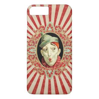 Payaso de circo del vintage con las rayas apenadas funda iPhone 7 plus