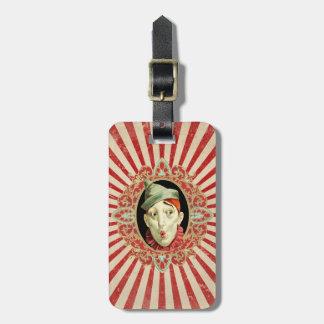 Payaso de circo del vintage y modelo retro de las etiqueta para maletas