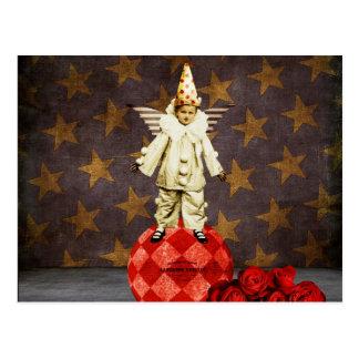 Payaso del ángel del circo del vintage postal