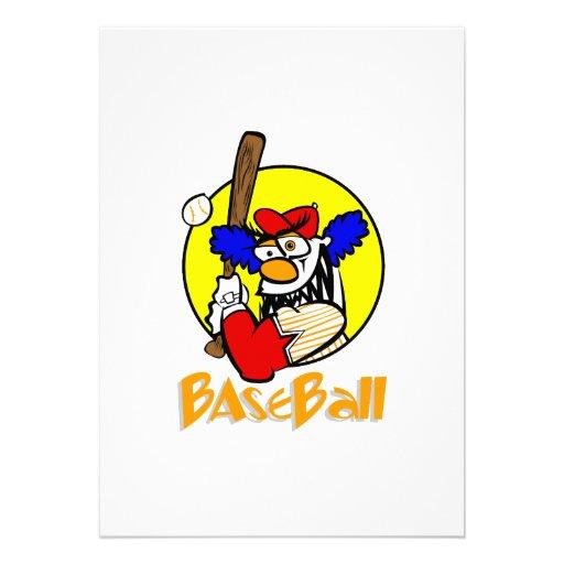 Payaso del béisbol invitaciones personalizada