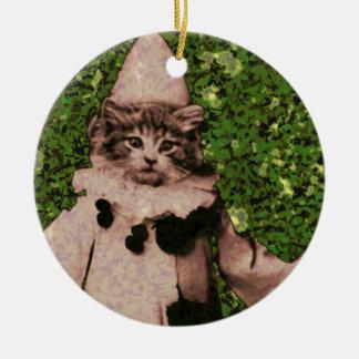 Payaso del gato adorno redondo de cerámica