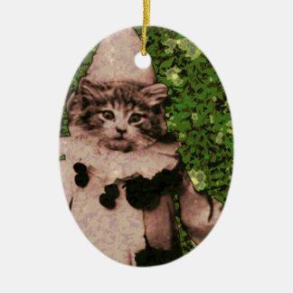 Payaso del gato adorno ovalado de cerámica