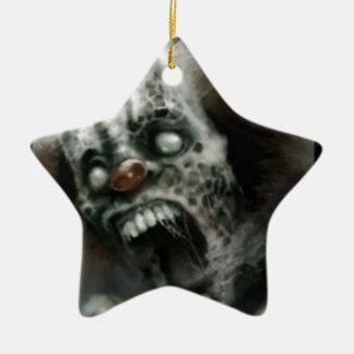 payaso del zombi adorno de cerámica en forma de estrella