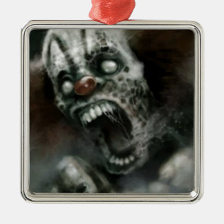payaso del zombi adorno cuadrado plateado