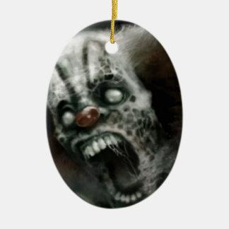 payaso del zombi adorno ovalado de cerámica