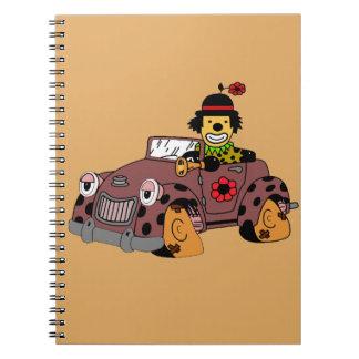 Payaso en coche cuaderno