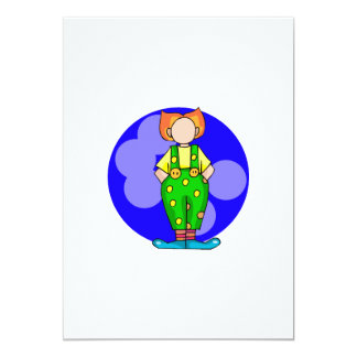 Payaso en lunares invitación 12,7 x 17,8 cm