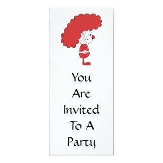Payaso en rojo y blanco. Historieta Invitación 10,1 X 23,5 Cm
