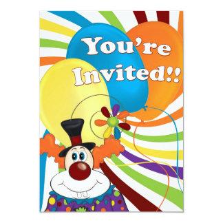 payaso invitación 12,7 x 17,8 cm