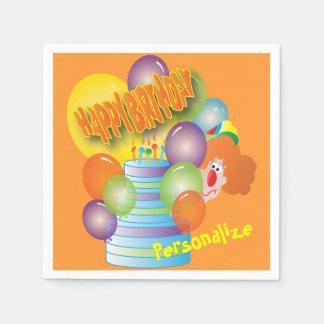 Payaso lindo del dibujo animado del feliz servilleta de papel