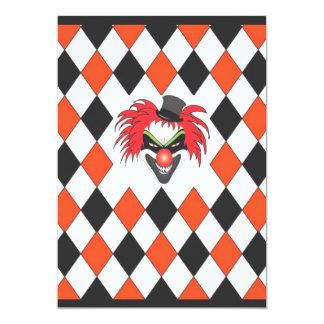 Payaso loco Halloween Invitación 12,7 X 17,8 Cm