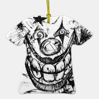 Payaso malvado adorno de cerámica en forma de camiseta