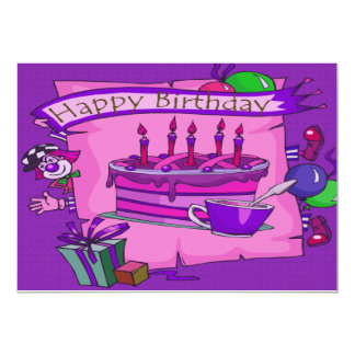Payaso tonto de la torta del feliz cumpleaños invitación 12,7 x 17,8 cm