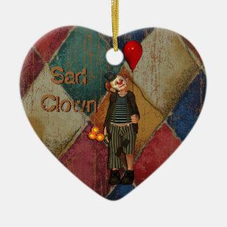 Payaso triste adorno de cerámica en forma de corazón