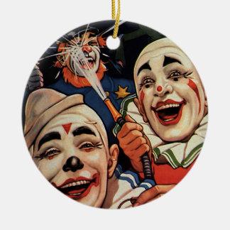 Payasos de circo del vintage, chistoso divertido adorno redondo de cerámica