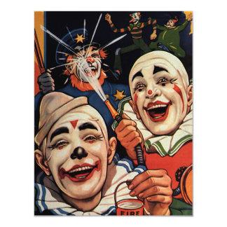 Payasos de circo del vintage, chistoso divertido invitación 10,8 x 13,9 cm