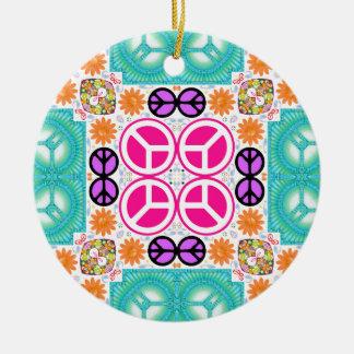 Paz abstracta adorno navideño redondo de cerámica