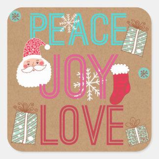 Paz, alegría, pegatina de Santa del amor
