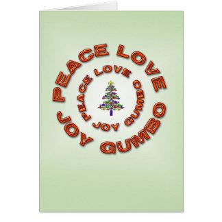 Paz, amor, alegría, árbol de Navidad de la flor de Tarjeta