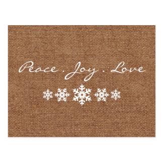 Paz. Amor. Alegría - saludo del día de fiesta del Postal