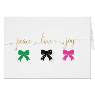 Paz, amor, alegría - tarjeta del día de fiesta