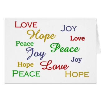Paz, amor, alegría, tarjeta del día de fiesta de