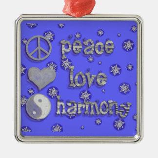 Paz, amor, armonía adorno navideño cuadrado de metal