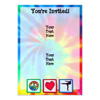 Paz, amor, artes marciales invitación 12,7 x 17,8 cm