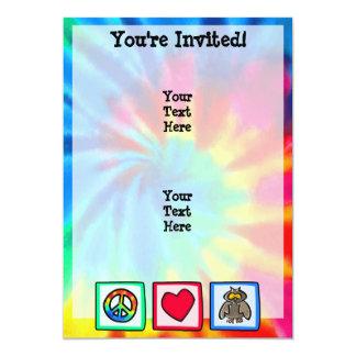Paz, amor, búhos invitación 12,7 x 17,8 cm