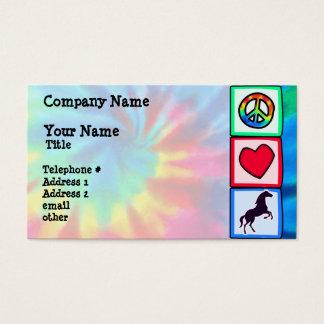 Paz, amor, caballos tarjeta de negocios