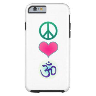 Paz, amor, caso del iPhone 6 de OM Funda Para iPhone 6 Tough