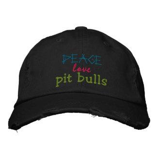 paz, amor, casquillo rugoso de los pitbulls gorra de beisbol